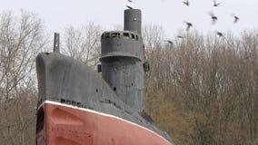 Oude roestige onderzeeër en troep van vogels die over het dek vliegen Sluit omhoog geschoten stock videobeelden