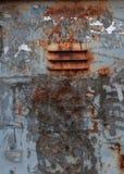 Oude roestige sjofel met grijze verf en een stuk voor ventilatie strijkt doos royalty-vrije stock fotografie