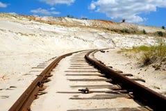 Oude roestige spoorweg Royalty-vrije Stock Foto's