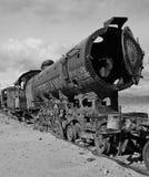 Oude roestige stoomlocomotief Stock Foto