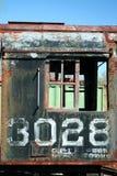 Oude roestige treinlocomotief Stock Foto