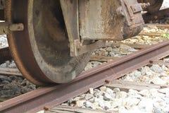 Oude roestige treinwielen Royalty-vrije Stock Afbeelding