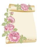 Oude rol en rozen Stock Foto