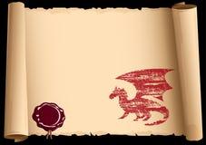 Oude rol met Draak royalty-vrije illustratie