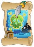 Oude rol met piraatkaart Royalty-vrije Stock Foto