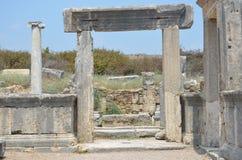 oude roman imperiumantalya Turkije, perge, oude deuringang Stock Foto's
