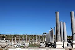 Oude Roman plaats in Perge, Turkije Stock Foto