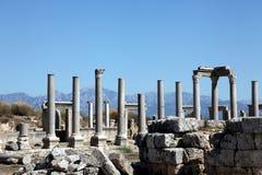 Oude Roman plaats in Perge, Turkije Royalty-vrije Stock Fotografie