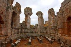 Oude Roman plaats in Perge, Turkije Stock Afbeelding