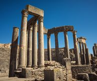 Oude Roman ruïnes, historische monumenten Theater in Tunesië Reis Royalty-vrije Stock Afbeelding