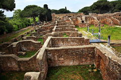 Oude Roman Ruïnes Ostia Antica Rome Italië Stock Afbeelding