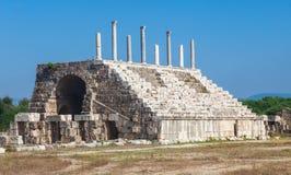 Oude Roman ruïnes van Renbaan in Libanon Stock Afbeelding