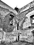 Oude ruïne Artistiek kijk in zwart-wit Royalty-vrije Stock Afbeelding