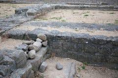 Oude ruïne van Roman Fort in Segedunum in Wallsend, Engeland stock fotografie
