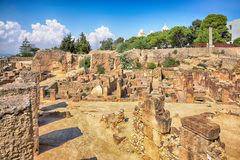 Oude ruïnes in Carthago, Tunesië royalty-vrije stock afbeeldingen