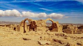 Oude ruïnes dichtbij Pathos stock afbeeldingen