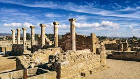 Oude ruïnes dichtbij Pathos stock foto