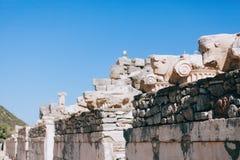 Oude ruïnes in Ephesus Turkije Stock Fotografie