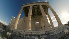 Oude Ruïnes in Griekenland Erechtheion stock footage
