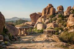 Oude ruïnes in Hampi Royalty-vrije Stock Foto's