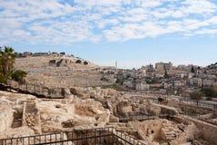 Oude ruïnes in Jeruzalem Royalty-vrije Stock Foto's