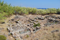 Oude ruïnes in Kefalos Stock Foto
