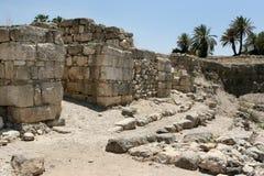 Oude Ruïnes in Megiddo, Israël Stock Foto's