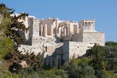 Oude ruïnes op Akropolis van Athene, Griekenland Stock Foto's