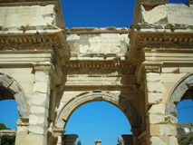 Oude Ruïnes Poort lange tijd in Efes Royalty-vrije Stock Foto