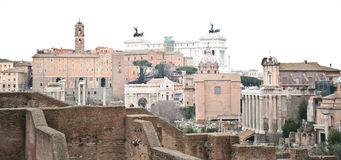 Oude ruïnes in Rome Stock Afbeelding