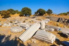 Oude ruïnes in Troy Turkije Royalty-vrije Stock Afbeeldingen