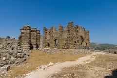 Oude ruïnes van Aspendos Royalty-vrije Stock Foto's