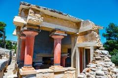 Oude ruïnes van beroemd Minoan-paleis van Knosos, het Eiland van Kreta, Griekenland royalty-vrije stock foto's