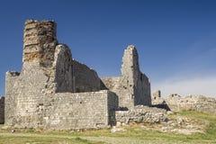 Oude ruïnes van kasteel in Skoder, Albanië stock foto's