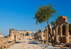 Oude ruïnes in Pamukkale Turkije Stock Foto