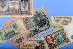 Oude Russische geld en muntstukken royalty-vrije stock foto's