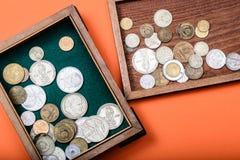 Oude Russische geld en muntstukken royalty-vrije stock afbeeldingen