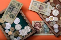 Oude Russische geld en muntstukken royalty-vrije stock fotografie