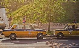 Oude Russische politiewagens Stock Foto's
