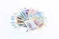 Oude Russische roebels op een witte achtergrond Stock Afbeeldingen