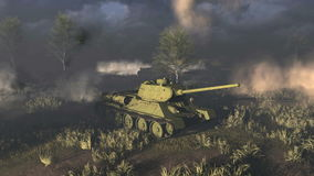 Oude Russische Tanks T 34 bij het slagveld stock illustratie