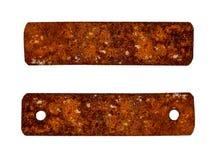 Oude rustieke die metaalplaat op wit wordt geïsoleerd Stock Foto's