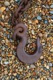 Oude Rusty Heavy Chain en Haak Royalty-vrije Stock Foto's