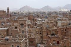 Oude Sanaa-gebouwen royalty-vrije stock afbeeldingen