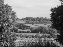 Oude Sarum in Salisbury in zwart-wit stock foto