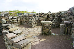 Oude Scatness ruïnes, Shetland Stock Afbeelding