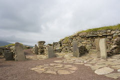 Oude Scatness ruïnes, Shetland Stock Fotografie