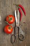 Oude schaar en groenten royalty-vrije stock fotografie