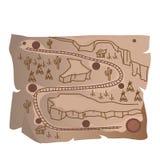 Oude schatkaart van Indische spoorweg stock illustratie