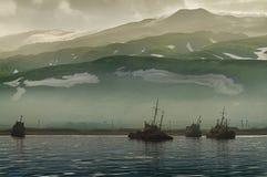 Oude schepen in de haven Royalty-vrije Stock Afbeelding